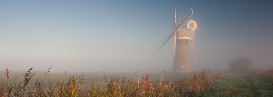 St Benets Mill on a misty autumnal morning