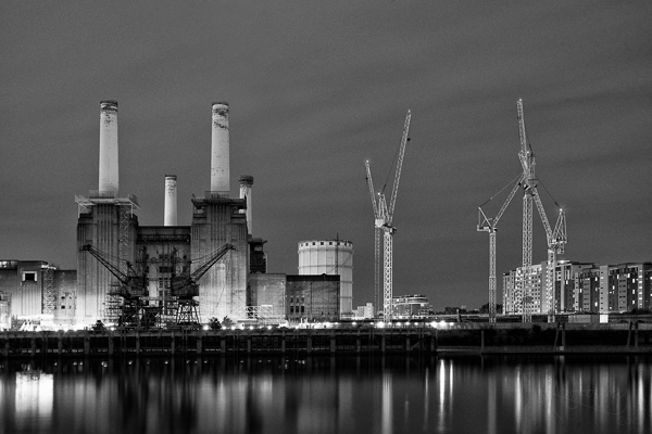 Battersea Power Station at Night in Mono